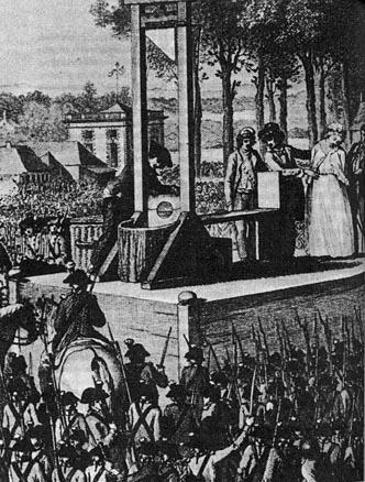 ギロチンによって処刑されるマリーアントワネット王妃
