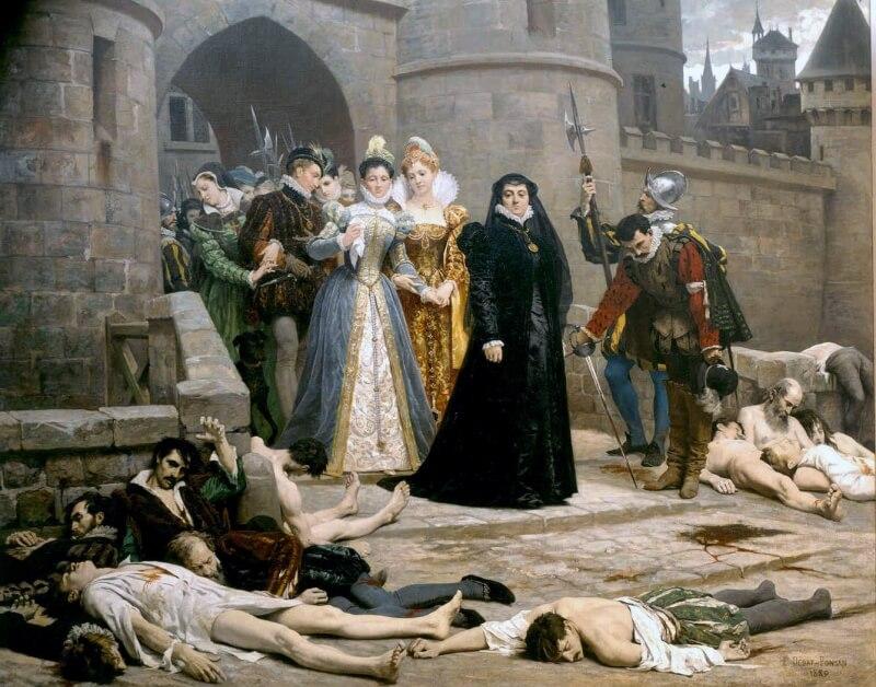 虐殺跡を視察するカトリーヌ サン・バルテルミの虐殺